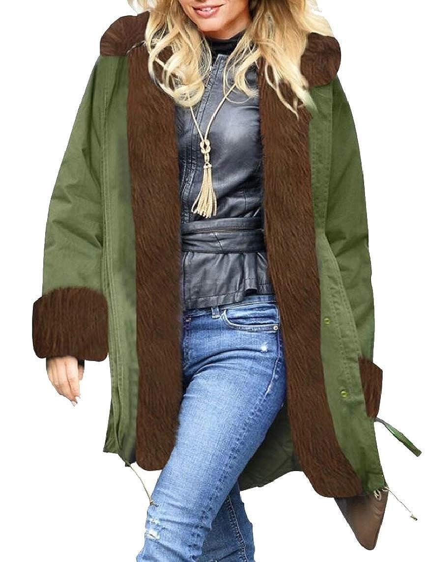 2 jxfd Women's Winter Thicken Faux Fur Hooded Plus Size Parka Jacket Coats