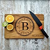 Personalized Cutting Board for Wedding Gifts or Anniversary Gift, Oak Cutting Board with Engraved Text Greetings