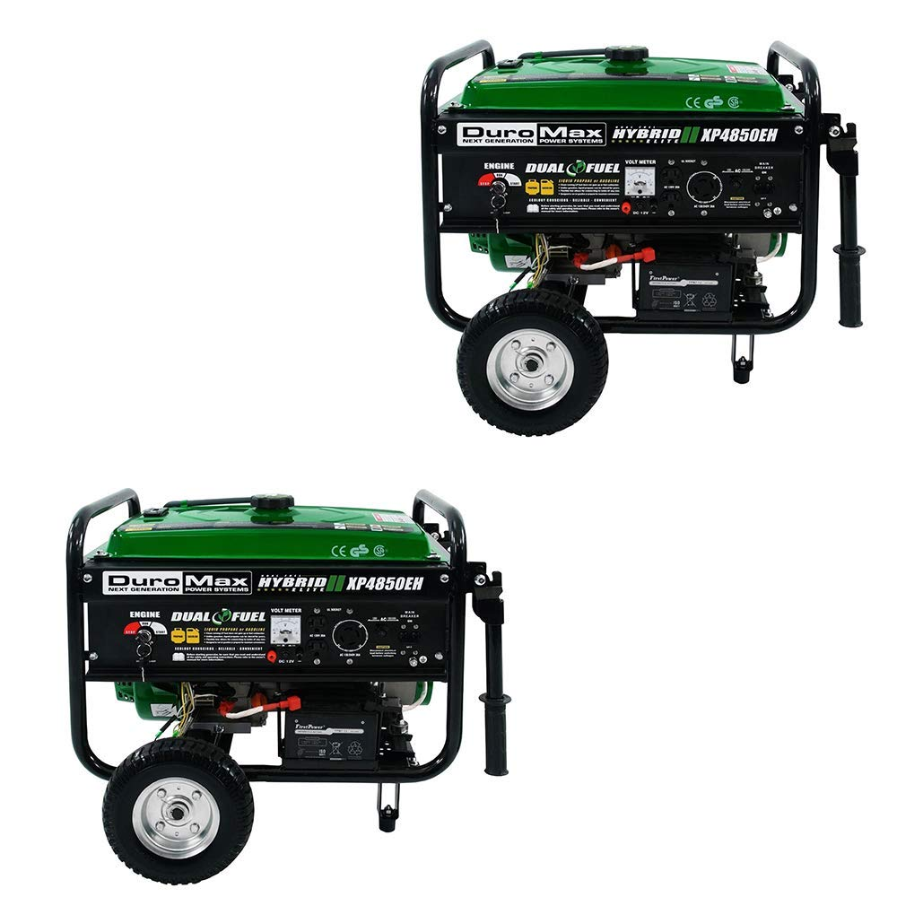DuroMax XP4850EH Durable 4850 Watt Fuel Hybrid Generator Electric Start (2 Pack)