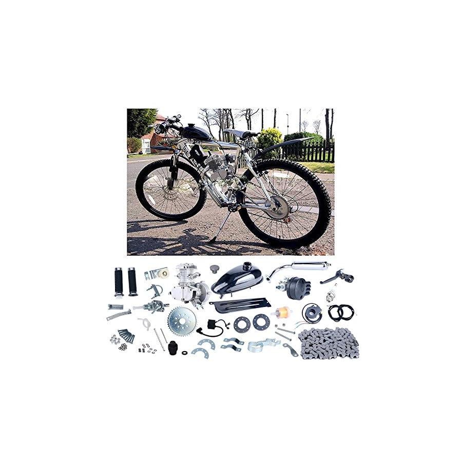 YaeCCC Bicycle Motor Kit 80cc 2 Stroke Motor Engine Mountain Bike Upgrade Kit Gas Motorized Bicycle Bike Kits Silver