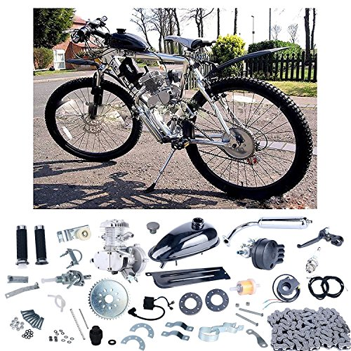 5 Speed Rear Engine - YaeCCC Bicycle Motor Kit 80cc 2 Stroke Motor Engine Mountain Bike Upgrade Kit Gas for Motorized Bicycle Bike Kits Silver