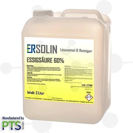 ERSOLIN Vinagre Acid 60% | descalcificador Vinagre | Limpiador ...