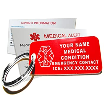 1b8adc1c9 My Identity Doctor - Custom Engraved Medical Alert ID Keychain Tag, Small  Red Plastic Rectangle