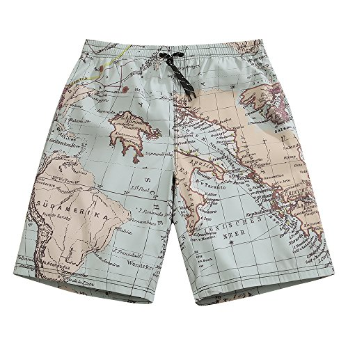 1d3af7a9f5 SULANG Men's Lightweight Quick Dry Tellurion Graphic Board Shorts Medium  33-34