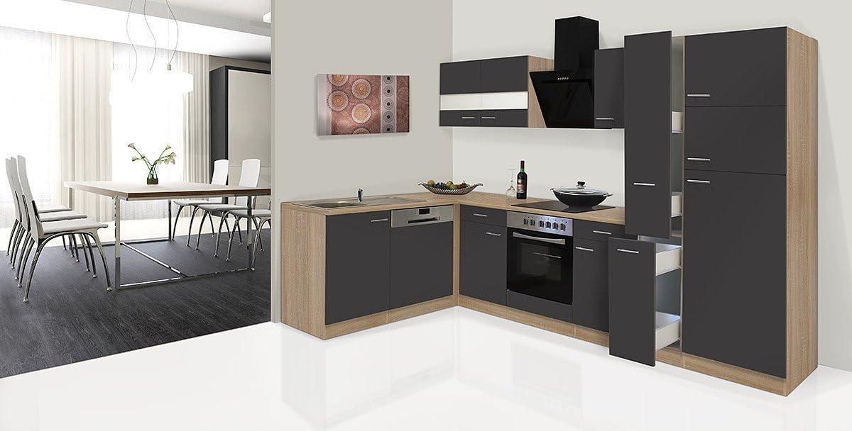 Respekta Economy Unidad de Esquina en Forma de L Cocina Cocina Roble 310 x 172 cm con Cartucho de cerámica Funda Campana: Amazon.es: Hogar
