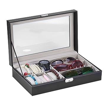 Caja Porta relojes funda Organizador Caso 9 Slot Watch Gafas de vista gafas de sol Gafas de exposición caja de vista Grid Jewelry Organizer: Amazon.es: ...