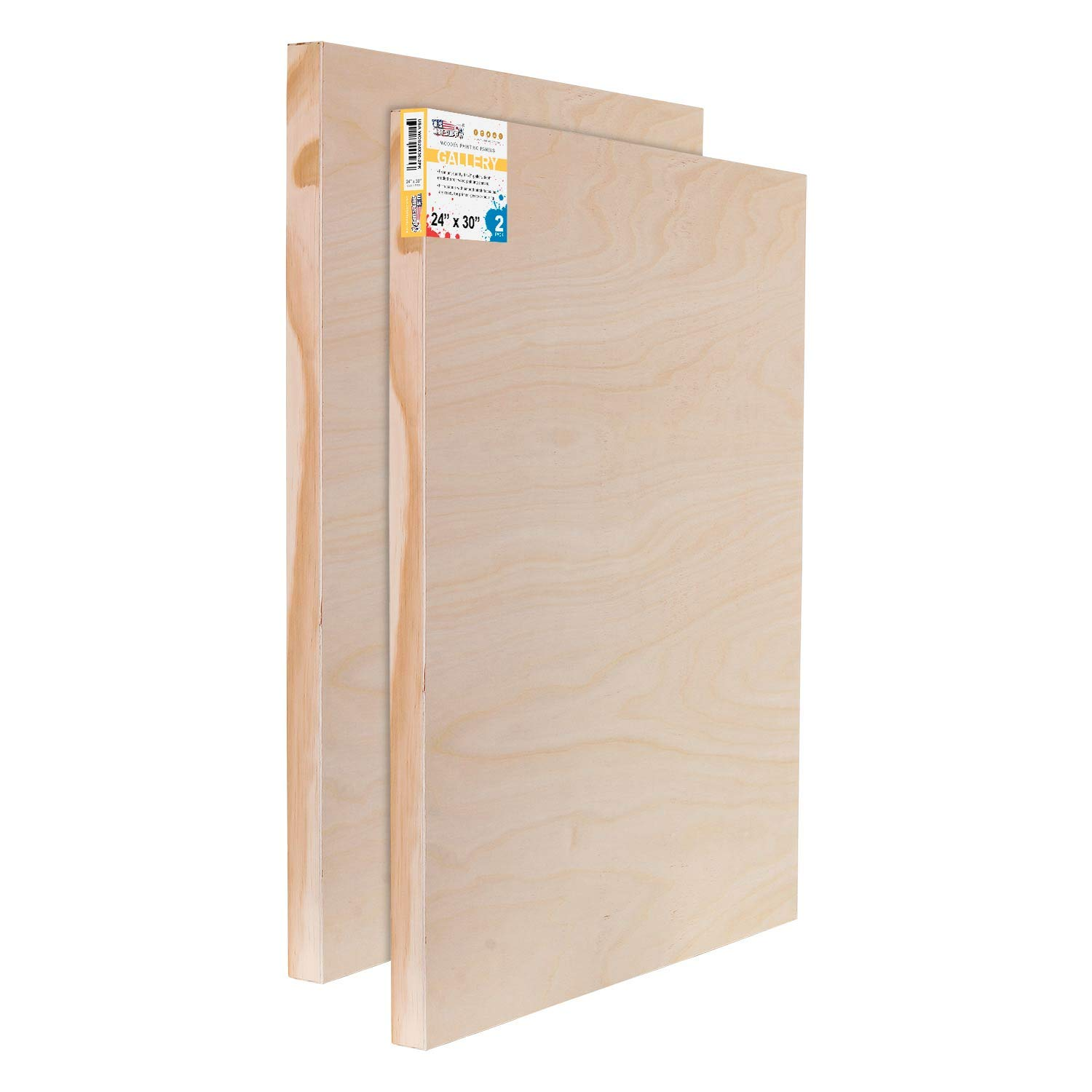 U.S. Art Supply 24'' x 30'' Birch Wood Paint Pouring Panel Boards, Gallery 1-1/2'' Deep Cradle (Pack of 2) - Artist Depth Wooden Wall Canvases - Painting Mixed-Media Craft, Acrylic, Oil, Encaustic