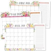 Floral 2021-2022 Desk Calendar, Large Monthly Wall Planner, 18 Month Academic Desktop Calendar or Fridge Planning…