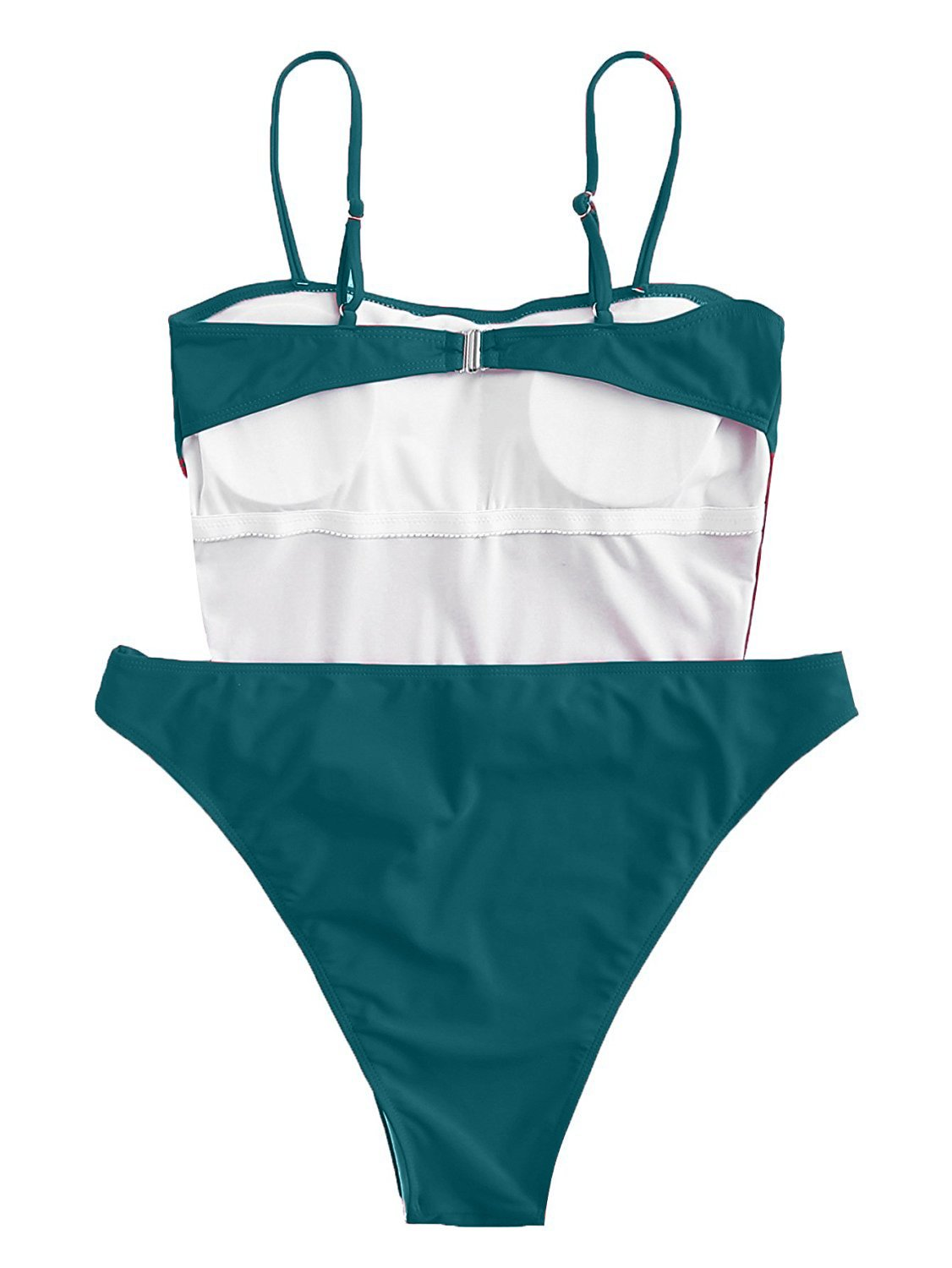 ioiom Women Sexy Spaghetti Strap Self Tie Front High Waist Cut One Piece Swimsuit Green M by ioiom (Image #7)
