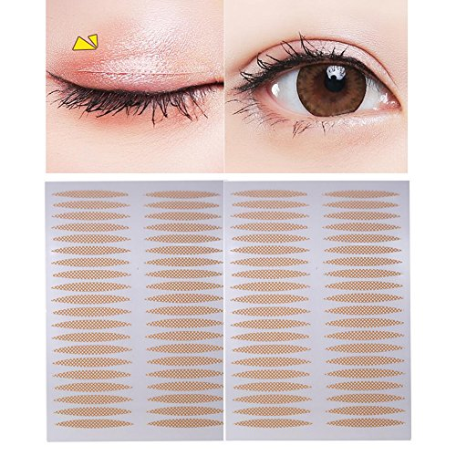 500 Pairs(1000PCS) 24mm x 3mm Nude Portable Breathable Naturally Lace Style Invisible Single Sided Double Eyelid Tape Self-Adhesive Eyelid Stickers Instant Eye Lift Strips with Y Fork