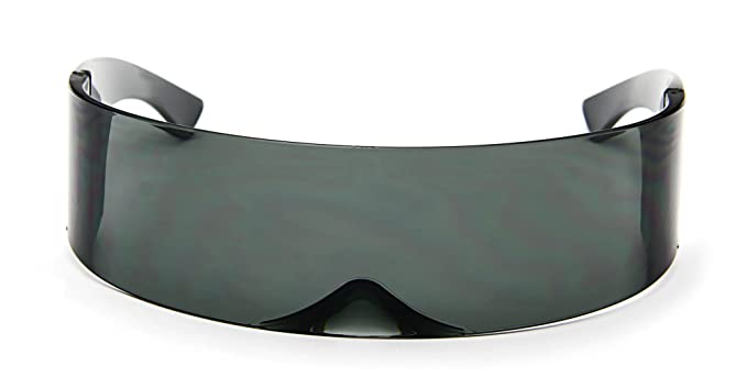 0dba19a8148 Futuristic Cyclops Sunglasses Wrap Around Shield Monoblock 100% UV400
