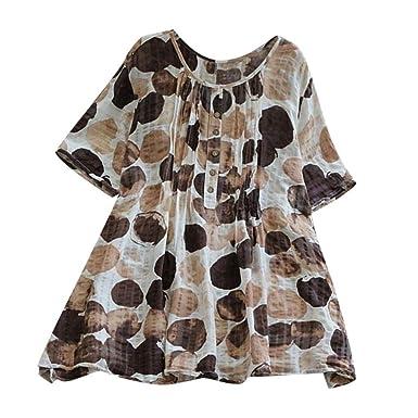 Camisetas Mujer Tallas Grandes Heavy SHOBDW Flojo Ocasional Camisa De Lino De Algodón Impresión De Puntos Túnica De Botones Blusa De Manga Corta