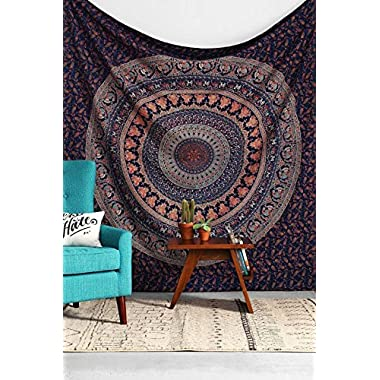 Indian Wall Hanging Cotton Tapestry Bohemian Bed Spread Table Top Cover Bedsheet Coverlet. King Size Bed throw