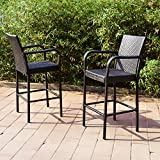 Joveco 30 Inches Rattan Wicker Outdoor Backyard Bistro Bar Stool - Set of Two