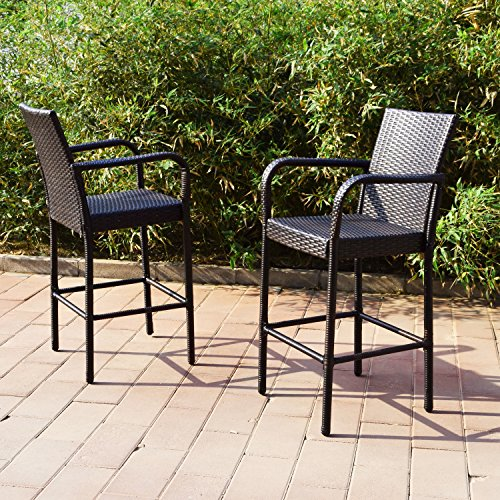 Joveco 30 Inches Rattan Wicker Outdoor Backyard Bistro Bar Stool - Set of Two - 30 Back Bar