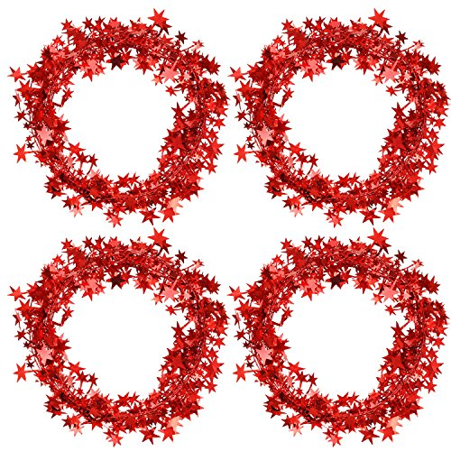 Bememo 4 Pack 16 Feet Star Shaped Garland Red Tinsel Wire Garland Tinsel Star Brace forValentines Day Wedding Party Holiday Decoration, Totally 64 Feet