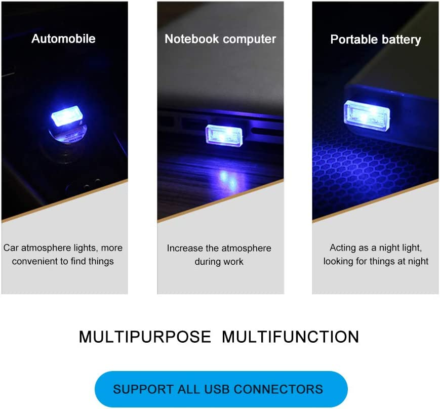 TIAS Mini USB Light Led auto luce interna 7 tipi di colori chiari decorano per auto illuminazione USB per auto