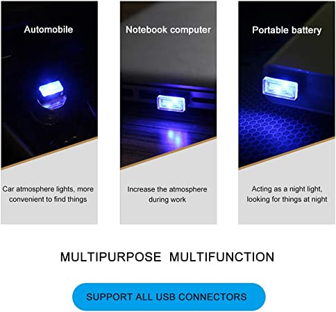 White MENGZHEN 1 UNID Mini Car Interior Kit de Iluminaci/ón Ambiental LED Ambiente Interior Luz Pies de la L/ámpara Iluminaci/ón Iluminaci/ón Decoraci/ón