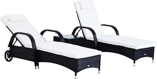 Outsunny Set de 2 Tumbonas Chaise Longue + 1 Mesa de Ratan para ...
