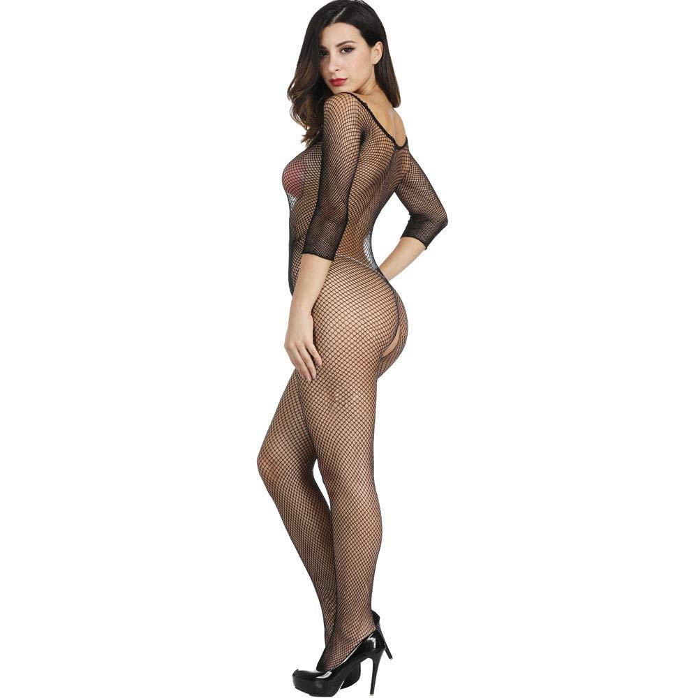 Axiba Women's Plus Size Fishnet Body Stockings Striped Lingerie Crotchless Bodysuits Tights Suspenders (Black) by Axiba_Sleepwear (Image #4)
