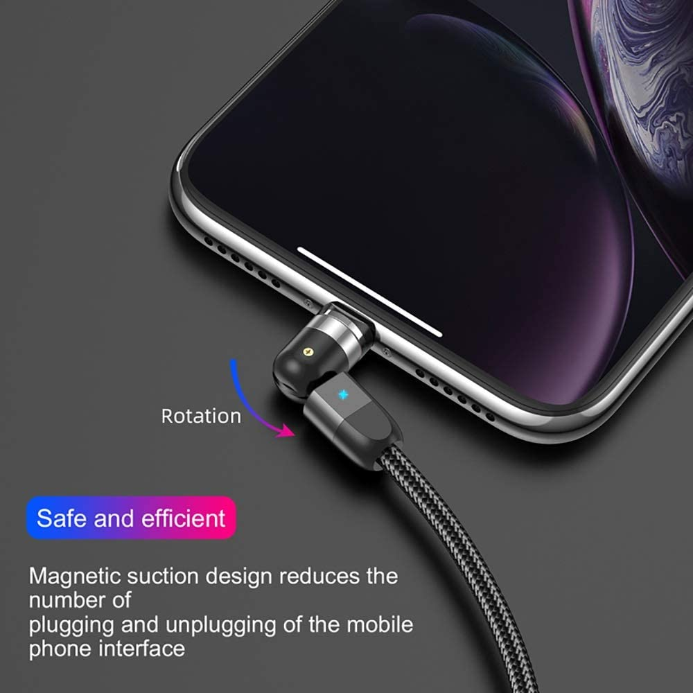 Color : Only for Micro Plug, Length : 2m YUHUANG Magnetic Charging Cable 2M Magnetic USB Cable Micro USB Type C Charger Mobile Phone Cable Cord 360/º+180/º Rotation Fast Charging