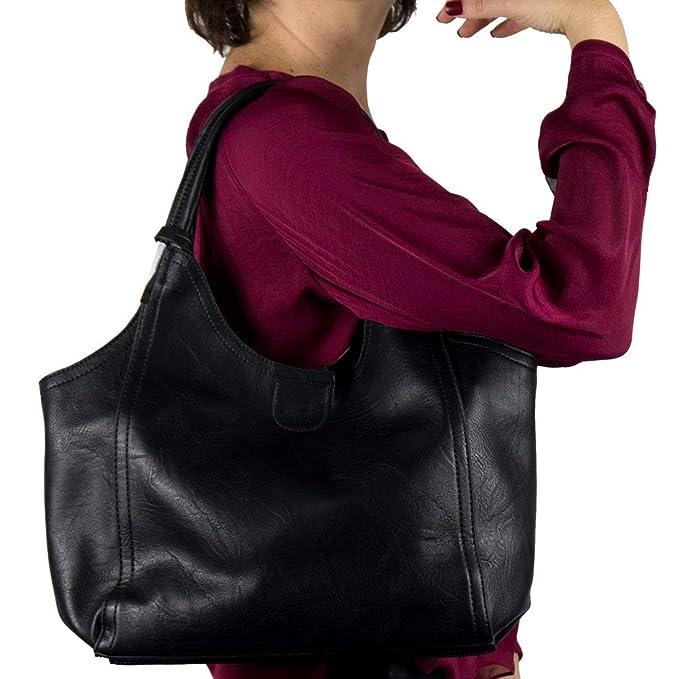 b7e352c5d5 Borsa spalla donna nera grande capiente da lavoro ufficio shopping elegante  tipo hobo bag 2019 giorno sera primavera estate di moda estiva signora in  ...