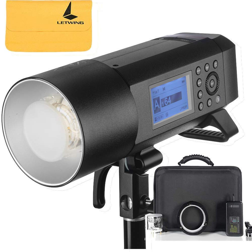 Godox AD400Pro Witstro All-in-One Outdoor Flash 400ws Strong Power,0.01~1s Recycle Time,12 Continuous Flashes in 1/16 Power Output,30w LED Modeling Lamp,390 Full Power Pops,Stable Color Temperature by Godox