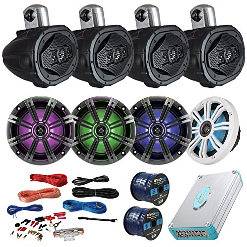 "Speaker Package Of 4 Kicker 41KM654LCW 6.5"" Boat Coaxial LED Speaker + 4 AQWB69B Black 6.5"" Marine Wake board Speakers + Lanzar 4800w Bluetooth Amplifier With Install Kit + Enrock 100ft Speaker Wire"