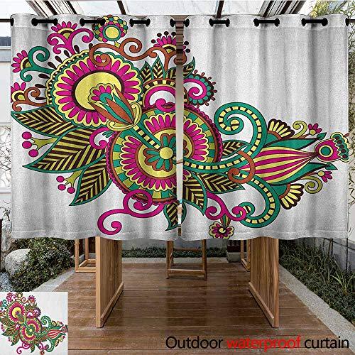 - AndyTours Outdoor Curtain Panel for Patio,Henna,Traditional Ukrainian Design Hand Drawn Floral Pattern Multicolored European Design,Waterproof Patio Door Panel,K140C160 Multicolor