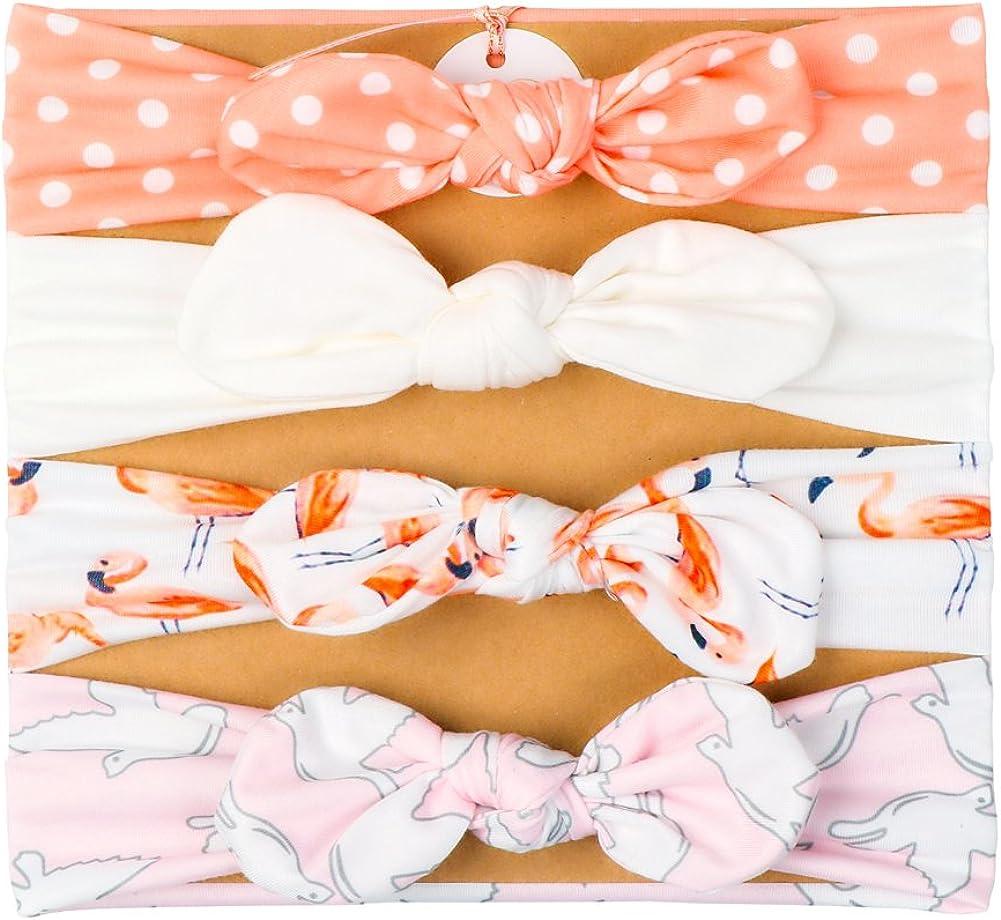 Vellette Fascia Capelli Bimba Cotone Bowknot Elastica Colori Diversi Regalo per Neonate Bambine 4Pcs