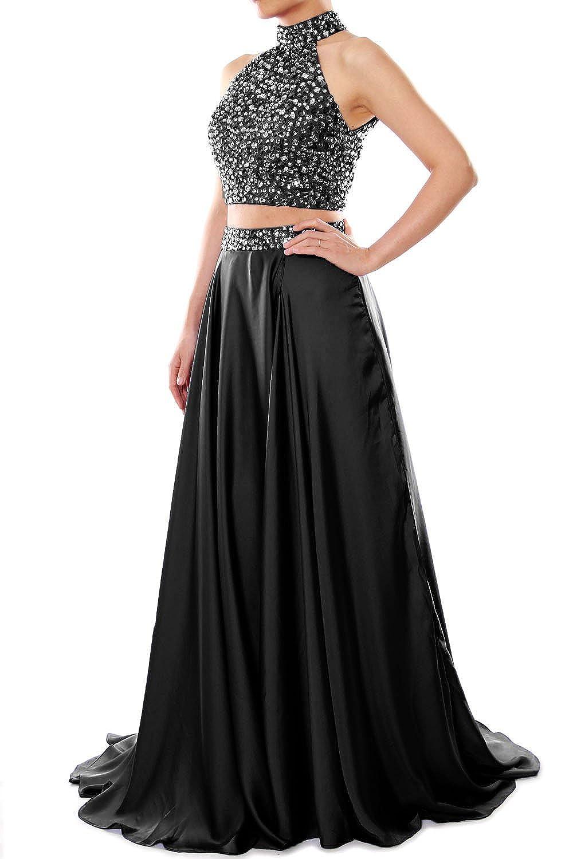Amazon.com: MACloth Women Two Piece Prom Dress High Neck Chiffon Long Formal Evening Gown: Clothing
