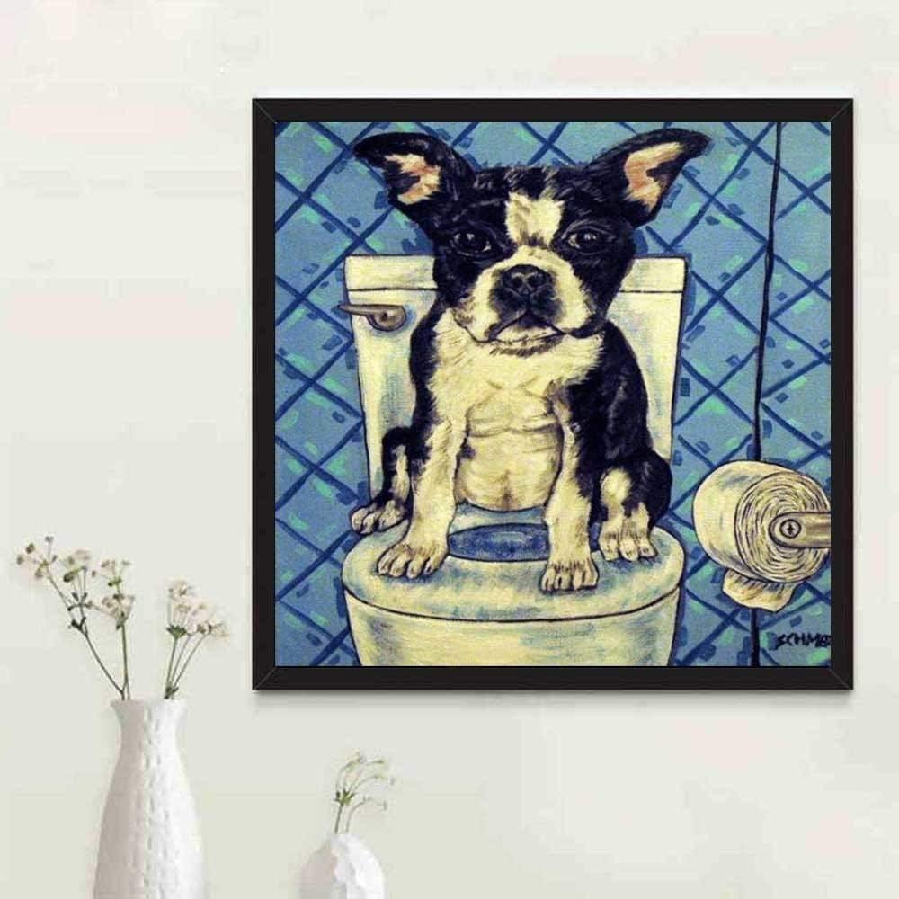 24 x 24 cm 5D DIY pintura de diamante Boston Terrier perro completo cuadrado Rhinestones punto de cruz diamante bordado mosaico WC Decor
