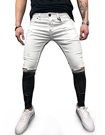 7fcef1e6 Sarriben Men's Street Fashion Skinny Fit Ripped Jeans with Zipper Bottom  White Black 30