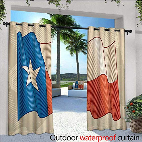 Texas Star Outdoor- Free Standing Outdoor Privacy Curtain Flapping Texan Flag Lone Star Pattern with Retro Effect Americana for Front Porch Covered Patio Gazebo Dock Beach Home W108
