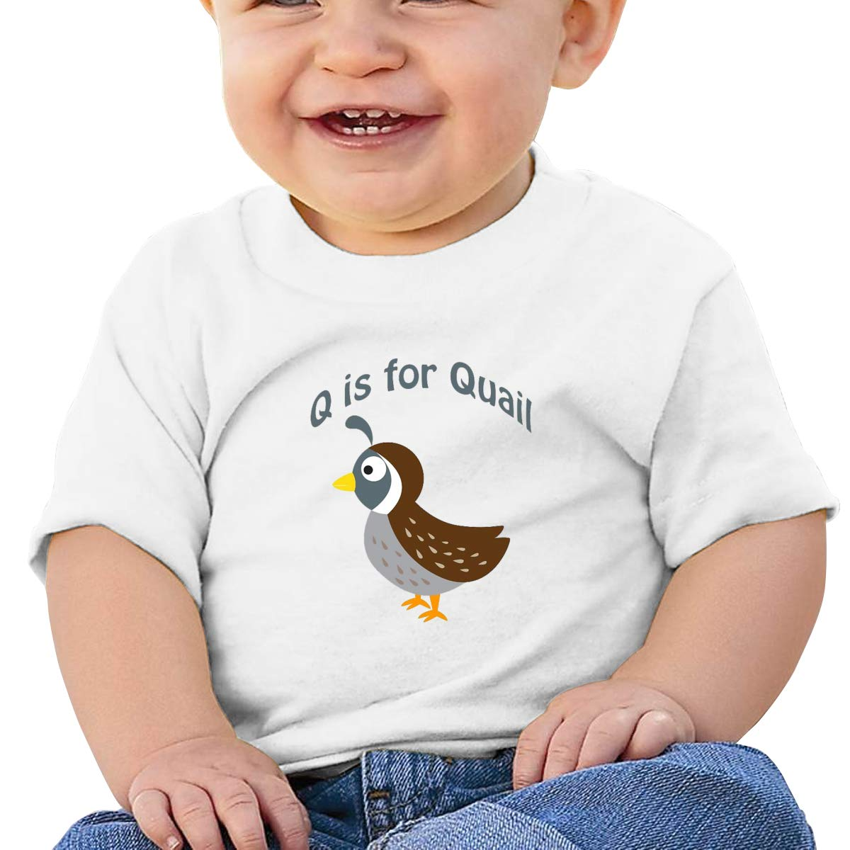 AiguanQ is for Quail Toddler//Infant Short Sleeve Cotton T Shirts White 43