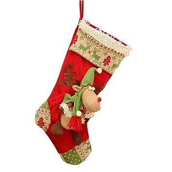 HLKE Calcetín De Navidad, Bolsa De Regalo, Adornos Navideños, Alces, Calcetines De Caramelo, Adornos,Red: Amazon.es: Hogar
