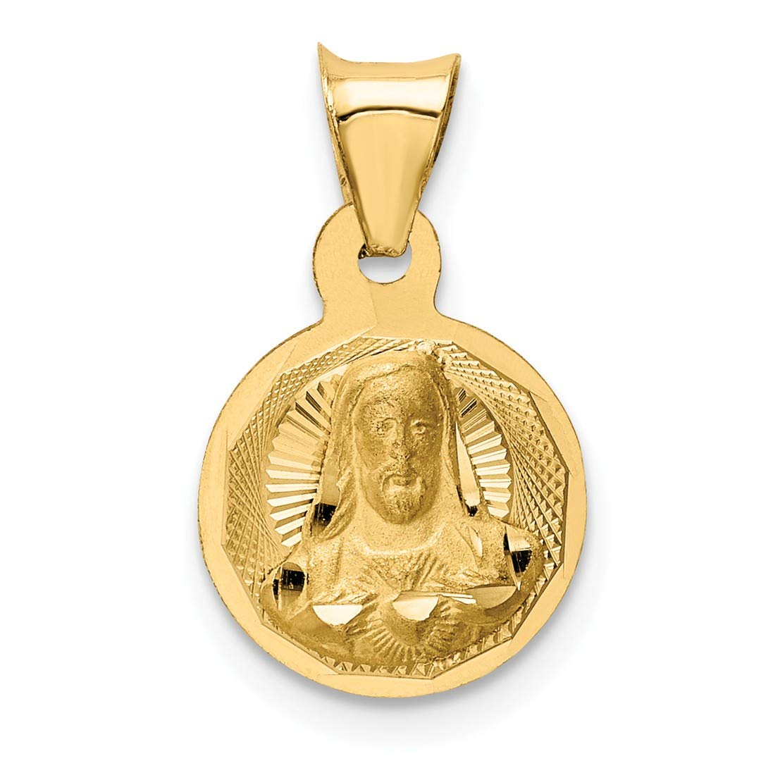 14k Yellow Gold Sagrado Corazon Circle Pendant Charm Necklace Religious Medal Fine Jewelry Gifts For Women For Her