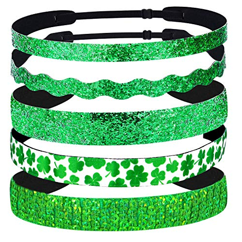 ABOAT 5 Pieces St Patrick's Day Hairband Adjustable Elastic Irish Green Hairbands Hair Accessories No Slip Sparkly Shamrock Headbands for ST Patrick's Day Party Decoration and Daily - Headband Green Glitter