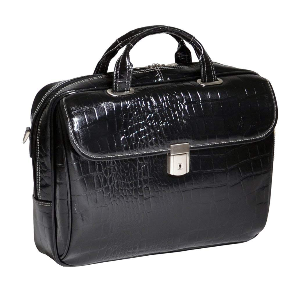 Black Litigator Briefcase Leather Solid Luxurious Style Adjustable Non-Slip