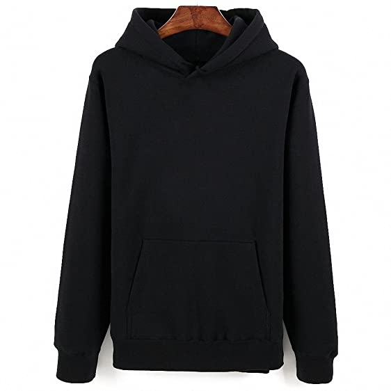 Solid Pullover Hoodie Winter Cotton Black White Gray Navy Blue ...