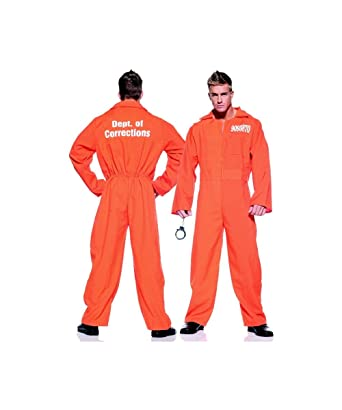 Amazon.com: Orange Prison Jumpsuit Costume - One Size - Chest Size ...