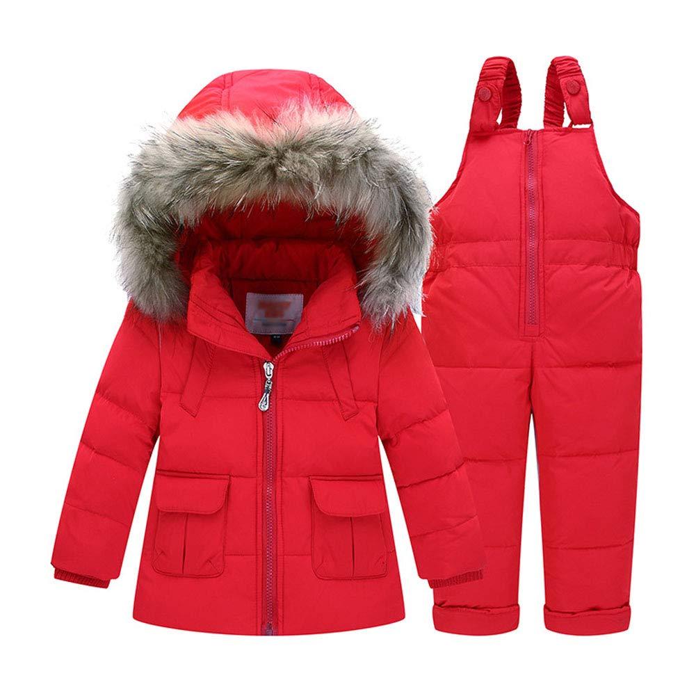 LAVIQK Baby Girls 2 Piece Winter Warm Hooded Fur Trim Snowsuit Puffer Down Jacket with Snow Ski Bib Pants Outfits