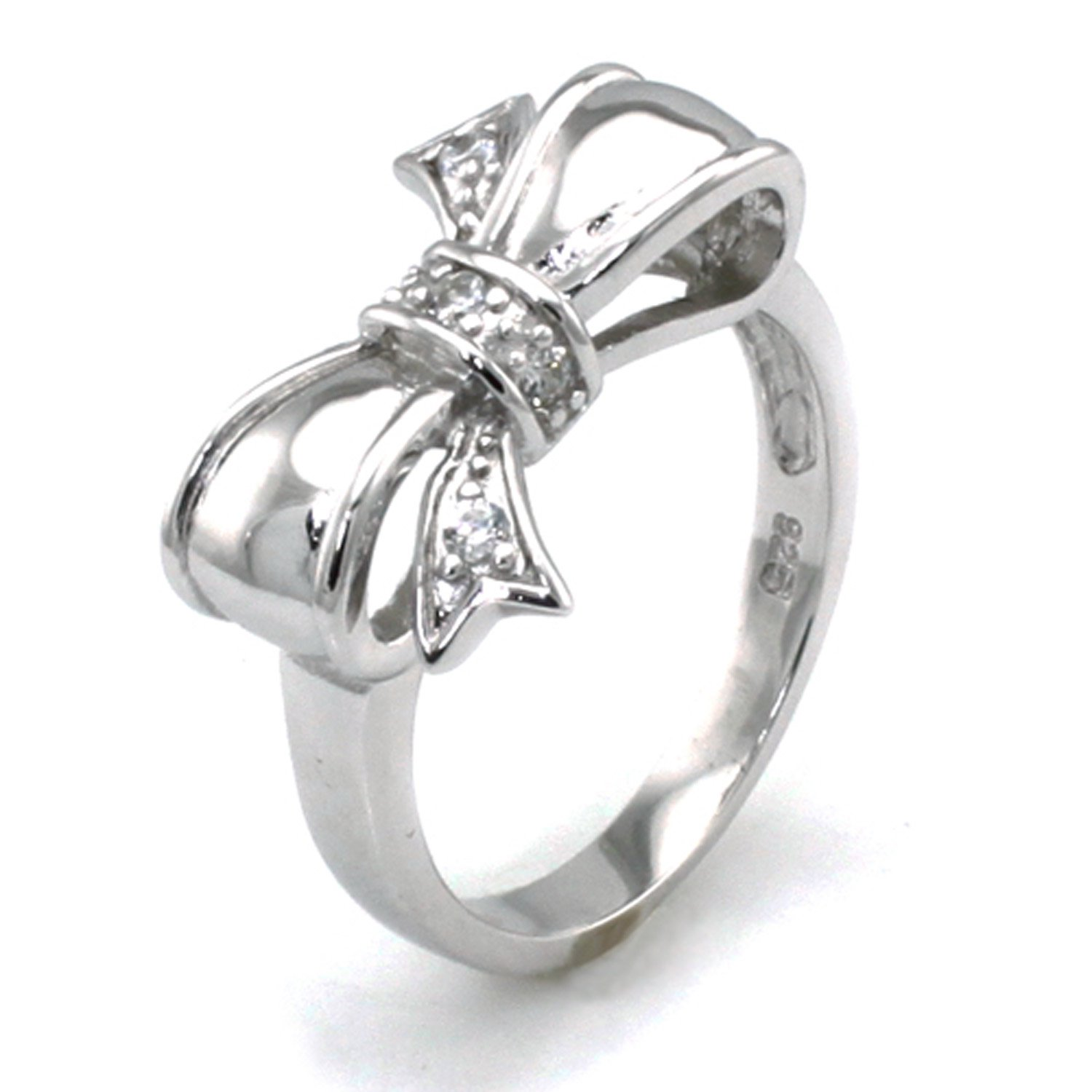 Amazon Sterling Silver Cubic Zirconia Infinity Bow Ring Jewelry