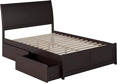 Atlantic Furniture Portland Platform Matching Foot Board and 2 Urban Bed Drawer