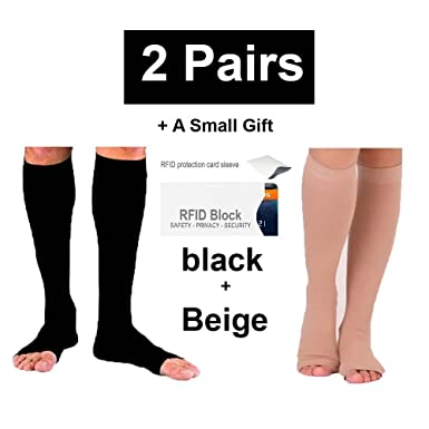 77c67d365f 2Pair Open Toe Compression Knee High Anti-Fatigue Sock Calf Support  Stocking (S /