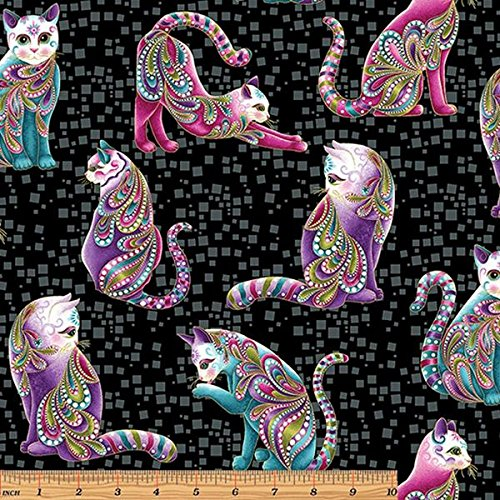 Cat-I-Tude Black Cats Allover Metallic Fabric 4201M-12 from Benartex by the ()