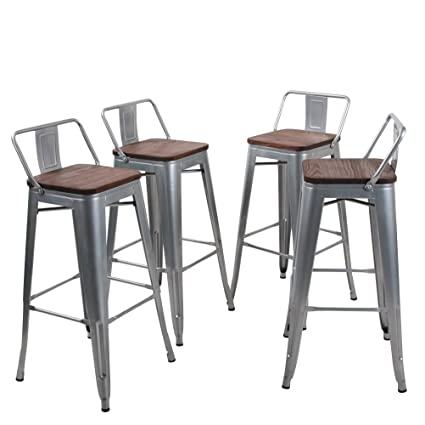 Amazoncom Tongli Metal Barstools Set Industrial Counter Height