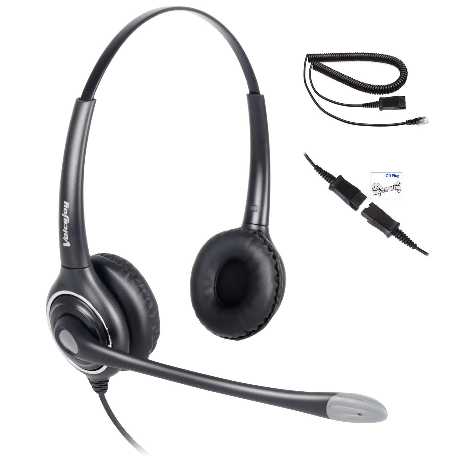 Double Ear Ultra Noise Canceling Call Center/Office Headset & QD Cable for All Cisco 6900, 7800 and 8000 Series Phones and Also Models 7940 7941 7942 7945 7960 7961 7962 7965 7970 7975 etc by VoiceJoy