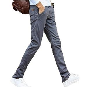 [スプリングスワロー] メンズ カラー ストレッチ スキニー ストレート デニム パンツ 綿パン スラックス ズボン お洒落 細目 無地 綿パンツ スリムフィット 動きやすい (グレー 32)