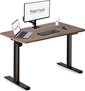 Harmati Electric Standing Desk Adjustable Height - 47 x 24 Inch Sit Stand Computer Desk, Stand Up Desk Table for Home Office, Black Frame/Walnut Top